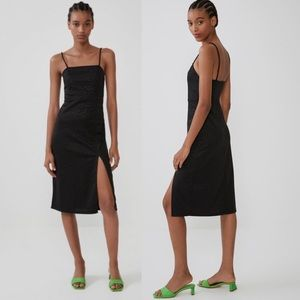NWT ZARA Textured Weave Slip Dress Black